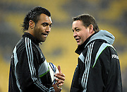 All Blacks forwards coach Steve Hansen talks to Victor Vito. Investec Tri-Nations - All Blacks v South Africa at Westpac Stadium, Wellington on Saturday 17 July 2010. Photo: Dave Lintott/PHOTOSPORT