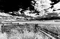 Sneffels Range & ranchland in autumn along Lost Dollar Road, CO
