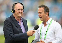 Jonathan Agnew (left) talks to Michael Vaughan during day three of the Second NatWest Test match at Headingley, Leeds. PRESS ASSOCIATION Photo. Picture date: Sunday June 3, 2018. See PA story CRICKET England. Photo credit should read: Nigel French/PA Wire. RESTRICTIONS: Editorial use only. No commercial use without prior written consent of the ECB. Still image use only. No moving images to emulate broadcast. No removing or obscuring of sponsor logos.