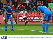 Jack Munns celebrates his goal during the Vanarama National League match between Cheltenham Town and Eastleigh at Whaddon Road, Cheltenham, England on 17 October 2015. Photo by Antony Thompson.