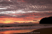 The sunset is the color of fire on Ko Lanta, Thailand.