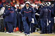 Jan 20, 2019; Kansas City, MO, USA; New England Patriots head coach Bill Belichick looks on during the AFC Championship game at Arrowhead Stadium. The Patriots defeated the Chiefs 37-31 in overtime to advance to their fifth Super Bowl in eight seasons. (Robin Alam/Image of Sport)