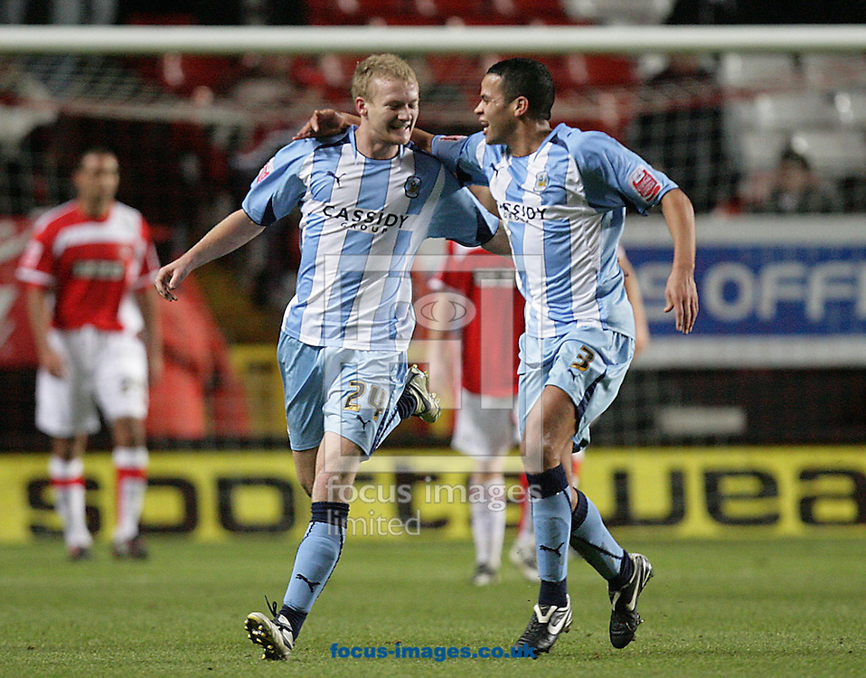 London - Tuesday December 8th, 2008: Robbie Simpson (L) of Coventry City celebrates his goal with team mate Marcus Hall (R) during the Coca Cola Championship match at The Valley, London. (Pic by Mark Chapman/Focus Images)