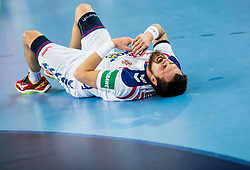 Bogdan Radivojevic of Serbia injured during handball match between National teams of Serbia and Belarus on Day 7 in Main Round of Men's EHF EURO 2018, on January 24, 2018 in Arena Zagreb, Zagreb, Croatia.  Photo by Vid Ponikvar / Sportida
