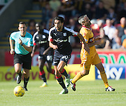 Dundee's Faissal El Bakhtaoui bursts away from Motherwell's Keith Lasley- Motherwell v Dundee in the Ladbrokes Scottish Premiership at Fir Park, Motherwell. Photo: David Young<br /> <br />  - © David Young - www.davidyoungphoto.co.uk - email: davidyoungphoto@gmail.com