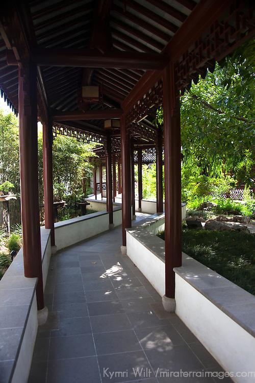 USA, California, San Marino. Walkway at The Huntington Library Chinese Gardens.