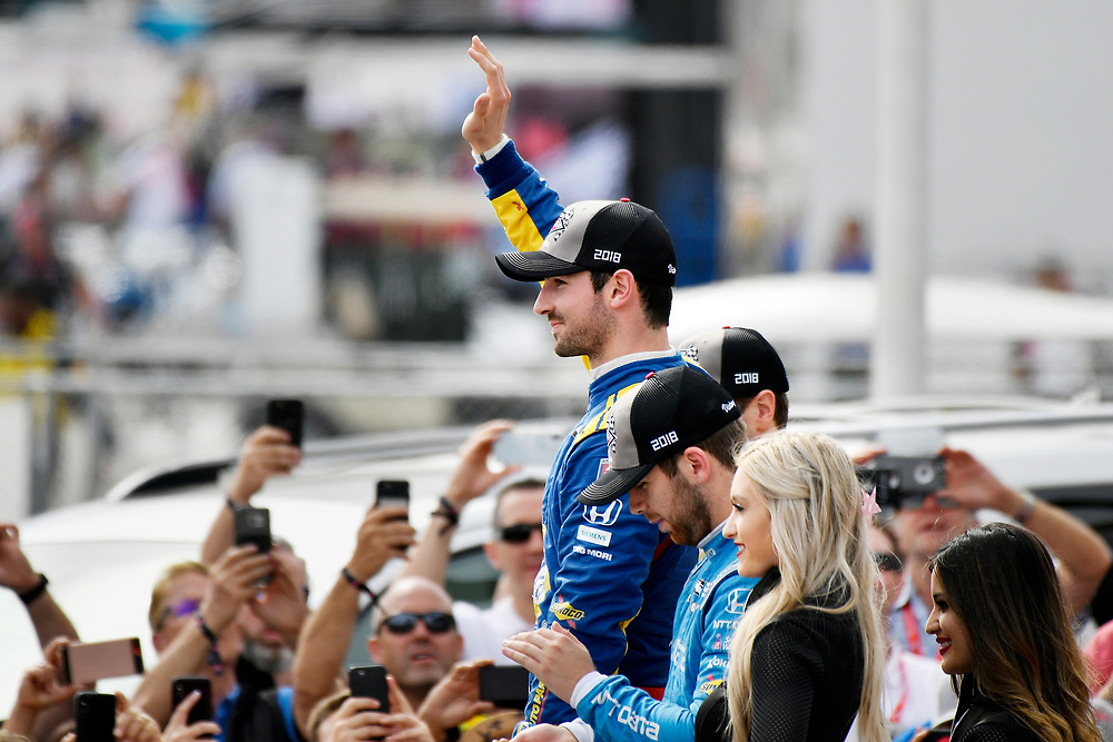 Alexander Rossi, Andretti Autosport Honda celebrates the win in victory lane on the podium<br /> Sunday 15 April 2018<br /> Toyota Grand Prix of Long Beach<br /> Verizon IndyCar Series<br /> Streets of Long Beach, California USA<br /> World Copyright: Scott R LePage<br /> LAT Images