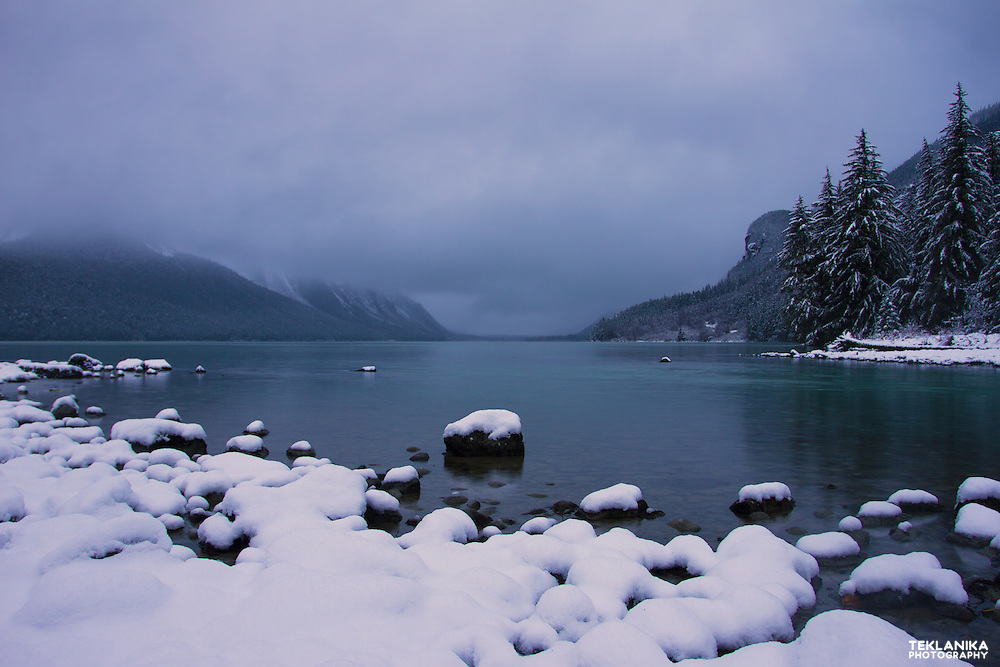 The first snow of the year at Alaska's Chilkoot Lake.