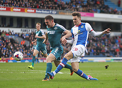 Sam Gallagher of Blackburn Rovers (R) has a shot at goal - Mandatory by-line: Jack Phillips/JMP - 04/03/2017 - FOOTBALL - Ewood Park - Blackburn, England - Blackburn Rovers v Wigan Athletic - Football League Championship