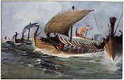Drakkar.  Viking longships under sail.  Watercolour by Albert Sebille (1874-1953).