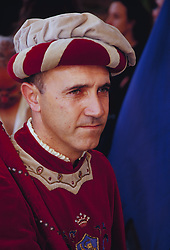 Europe, Italy, Siena, man in traditional clothing at festival