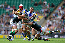 Saracens Lock (#5) Alistair Hargreaves is tackled during the second half of the match - Photo mandatory by-line: Rogan Thomson/JMP - Tel: Mobile: 07966 386802 07/09/2013 - SPORT - RUGBY UNION - Twickenham Stadium - London Irish v Saracens - Aviva Premiership - London Double Header.