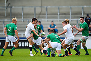 England scrum-half Max Green feeds the ball to hooker Jack Singleton during the World Rugby U20 Championship Final   match England U20 -V- Ireland U20 at The AJ Bell Stadium, Salford, Greater Manchester, England onSaturday, June 25, 2016. (Steve Flynn/Image of Sport)