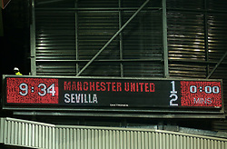 The scoreboard showing the full time score of Manchester United 1-2 Sevilla - Mandatory by-line: Robbie Stephenson/JMP - 13/03/2018 - FOOTBALL - Old Trafford - Manchester, England - Manchester United v Sevilla - UEFA Champions League Round of 16 2nd Leg