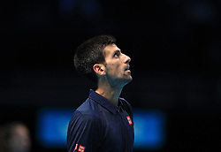 Novak Djokovic reacts during day eight of the Barclays ATP World Tour Finals at The O2, London.