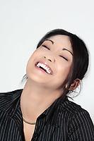 studio shot portrait cute funny young expressive women asian happy woman