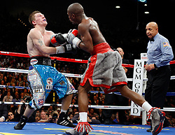 K.M. CANNON/REVIEW-JOURNALFloyd Mayweather of Las Vegas lands a right to Ricky Hatton of Britain in the eigth round of their WBC World Welterweight Championship bout at the MGM Grand Garden Arena Saturday, Dec. 8, 2007. Mayweather won by knockout in the 10th round...