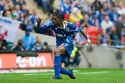 LONDON, ENGLAND - Saturday, May 17, 2008: Portsmouth's Nwankwo Kanu celebrates after scoring the winning goal against Cardiff City during the FA Cup Final at Wembley Stadium. (Photo by Chris Ratcliffe/Propaganda)