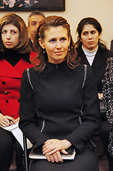 File photo - Syrian President's wife Asma El Assad visits the charitable foundation 'The New Names Fund' in Moscow, Russia, and meets with its president Iveta Voronova, on 25 January 2005. She poses with the children learning in the 'New Names' Fund (young talented musicians) and gifted them with a 'Qanun', one of the oldest Arabis music instruments. Syria's British-born first lady Asma Assad has begun treatment for breast cancer. The Syrian presidency posted on its Facebook page a photo of President Bashar Assad sitting next to his wife in a hospital room. Photo by Ammar Abd Rabbo/ABACA.