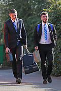 Bristol Rovers Adam Smith (21)left and  Bristol Rovers Dominic Telford (18) right arriving at the ground before the EFL Sky Bet League 1 match between Bristol Rovers and Scunthorpe United at the Memorial Stadium, Bristol, England on 24 February 2018. Picture by Gary Learmonth.