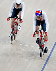 England's Oliver Wood (right) and Christopher Latham in the Men's 15km Scratch Race Final at the Anna Meares Velodrome during day Three of the 2018 Commonwealth Games in the Gold Coast, Australia.