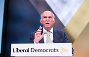 Liberal Democrats Autumn Conference in Brighton, East Sussex 18th September 2018 <br /> Final day <br /> <br /> Vince Cable MP <br /> Leader fo the Liberal Democrats <br /> Leaders' speech <br /> <br /> <br /> <br /> <br /> Photograph by Elliott Franks