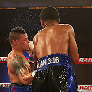 Gamalier Rodriguez (blue/black trunks) lands a head shot as he retains his NABO Featherweight Title against challenger Orlando Cruz (white trunks) at the Bahia Shriners Center on Saturday, April 19, 2014 in Orlando, Florida.  (AP Photo/Alex Menendez)
