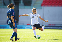 LLANELLI, WALES - Saturday, August 31, 2013: England's Paige Williams in action against France during the Final of the UEFA Women's Under-19 Championship Wales 2013 tournament at Parc y Scarlets. (Pic by David Rawcliffe/Propaganda)