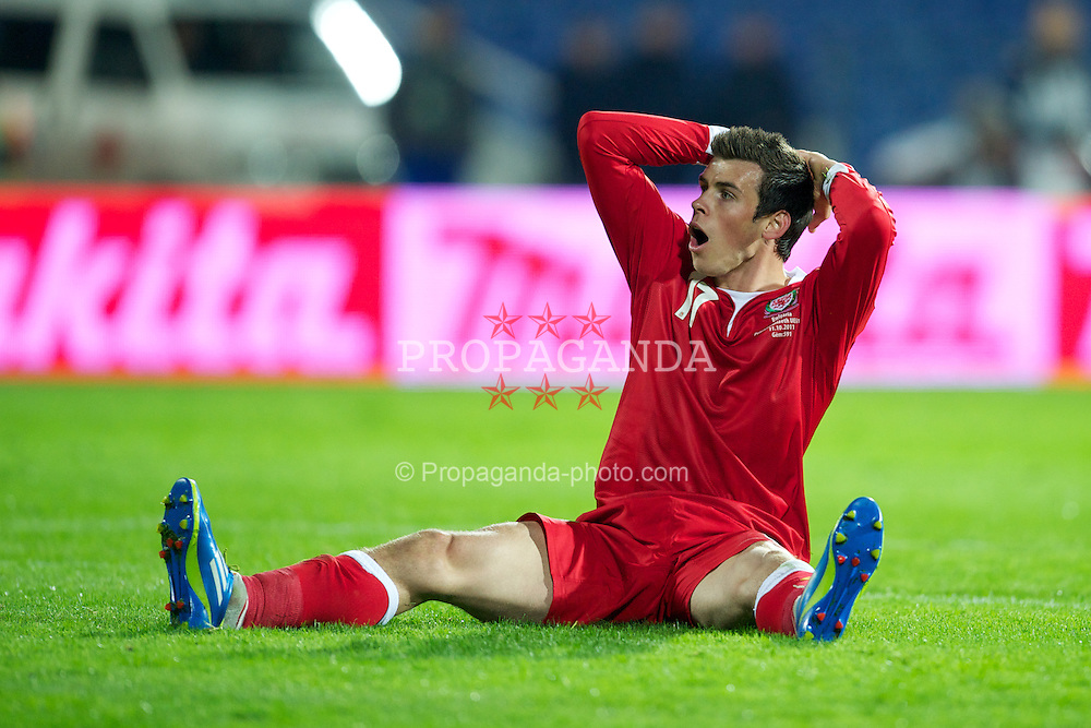 SOFIA, BULGARIA - Tuesday, October 11, 2011: Wales' Gareth Bale rues a missed chance against Bulgaria during the UEFA Euro 2012 Qualifying Group G match at the Vasil Levski National Stadium. (Pic by David Rawcliffe/Propaganda)