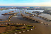 Nederland, Limburg, Gemeente Maasgouw, 10-01-2011; hoogwater Maas, omgeving Maasbracht als gevolg van sneeuwsmelt en neerslag in de bovenloop van de rivier. De stuw bij Linne is gestreken, de overlaat is in werking. Maasbracht area, high water due to snow melt and precipitation upstream. The weir at Linne is lowered, the spillway is in operation..luchtfoto (toeslag), aerial photo (additional fee required).© foto/photo Siebe Swart