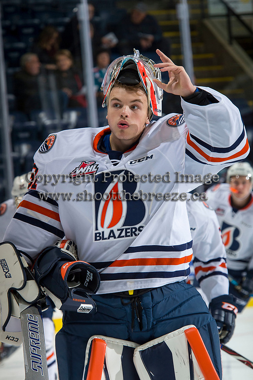 KELOWNA, CANADA - SEPTEMBER 22: Dylan Ferguson #31 of the Kamloops Blazers stands at the bench during warm up against the Kelowna Rockets on September 22, 2017 at Prospera Place in Kelowna, British Columbia, Canada.  (Photo by Marissa Baecker/Shoot the Breeze)  *** Local Caption ***