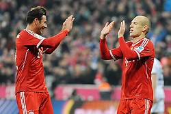 01.03.2014, Allianz Arena, Muenchen, GER, 1. FBL, FC Bayern Muenchen vs Schalke 04, 23. Runde, im Bild Freude bei Claudio Pizarro (FC Bayern Muenchen), Arjen Robben (FC Bayern Muenchen) // during the German Bundesliga 23th round match between FC Bayern Munich and Schalke 04 at the Allianz Arena in Muenchen, Germany on 2014/03/01. EXPA Pictures © 2014, PhotoCredit: EXPA/ Eibner-Pressefoto/ Stuetzle<br /> <br /> *****ATTENTION - OUT of GER*****