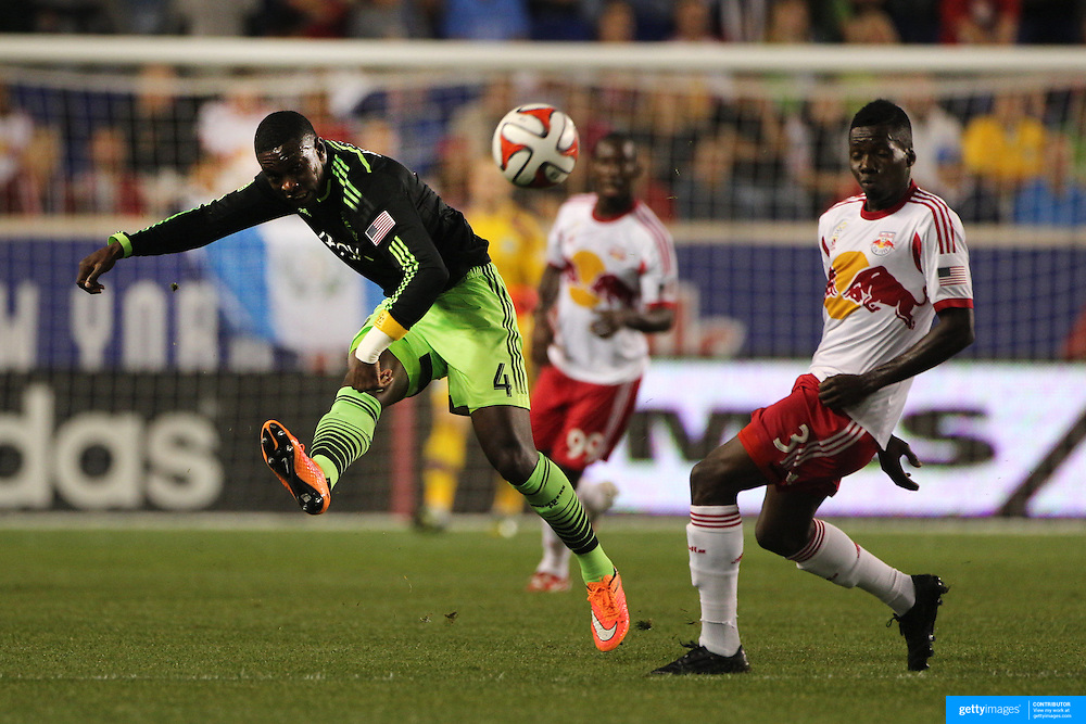 Jalil Anibaba, Seattle Sounders, in action during the New York Red Bulls Vs Seattle Sounders, Major League Soccer regular season match at Red Bull Arena, Harrison, New Jersey. USA. 20th September 2014. Photo Tim Clayton