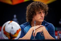 Handout photo provided by UEFA. Chelsea's David Luiz during a press conference at The Olympic Stadium, Baku.