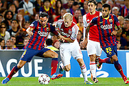 Onderwerp/Subject: FC Barcelona - Ajax - Champions League<br /> Reklame:  <br /> Club/Team/Country: <br /> Seizoen/Season: 2013/2014<br /> FOTO/PHOTO: Nicolai BOILESEN ( Nicolai Moller BOILESEN ) (C) of Ajax in duel with XAVI ( Xavier Hernandez CREUS ) (L) of FC Barcelona and Dani ALVES ( Daniel ALVES DA SILVA ) (R) of FC Barcelona. (Photo by PICS UNITED)<br /> <br /> Trefwoorden/Keywords: <br /> #04 $94 &plusmn;1377835766895<br /> Photo- &amp; Copyrights &copy; PICS UNITED <br /> P.O. Box 7164 - 5605 BE  EINDHOVEN (THE NETHERLANDS) <br /> Phone +31 (0)40 296 28 00 <br /> Fax +31 (0) 40 248 47 43 <br /> http://www.pics-united.com <br /> e-mail : sales@pics-united.com (If you would like to raise any issues regarding any aspects of products / service of PICS UNITED) or <br /> e-mail : sales@pics-united.com   <br /> <br /> ATTENTIE: <br /> Publicatie ook bij aanbieding door derden is slechts toegestaan na verkregen toestemming van Pics United. <br /> VOLLEDIGE NAAMSVERMELDING IS VERPLICHT! (&copy; PICS UNITED/Naam Fotograaf, zie veld 4 van de bestandsinfo 'credits') <br /> ATTENTION:  <br /> &copy; Pics United. Reproduction/publication of this photo by any parties is only permitted after authorisation is sought and obtained from  PICS UNITED- THE NETHERLANDS