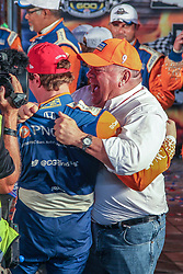 June 9, 2018 - Fort Worth, Texas, U.S - Chip Ganassi Racing driver Scott Dixon (9) of New Zealand celebrates after winning the DXC Technology 600 race at Texas Motor Speedway in Fort Worth,Texas. (Credit Image: © Dan Wozniak via ZUMA Wire)