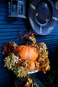 USA, Idaho, Valley County, McCall, Pumpkin used as autumn harvest or Halloween Decoration at a shop