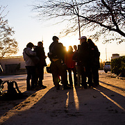 """Volunteers gather before canvassing apartments in the high-rises Become a volunteer with """"Occupy Sandy"""" HERE:<br /> <br /> http://interoccupy.net/occupysandy/"""