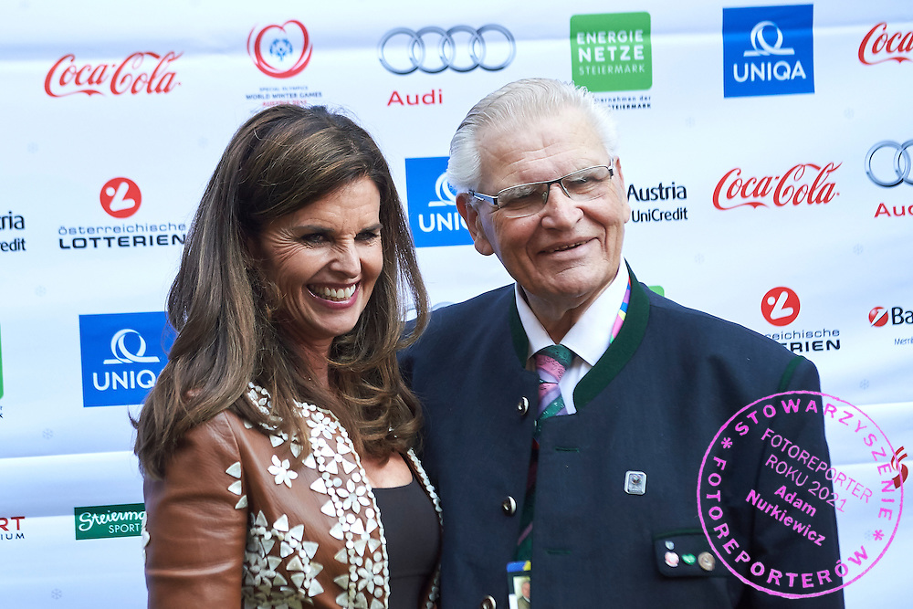 (L) Maria Shriver and (R) Hermann Kroell pose to photo while Austria 2017 Reception during third day of the Special Olympics World Games Los Angeles 2015 on July 27, 2015 in Los Angeles, USA.<br /> USA, Los Angeles, July 27, 2015<br /> <br /> Picture also available in RAW (NEF) or TIFF format on special request.<br /> <br /> For editorial use only. Any commercial or promotional use requires permission.<br /> <br /> Adam Nurkiewicz declares that he has no rights to the image of people at the photographs of his authorship.<br /> <br /> Mandatory credit:<br /> Photo by &copy; Adam Nurkiewicz / Mediasport