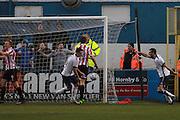 Barrow score their goal during the Vanarama National League match between Barrow and Cheltenham Town at Holker Street, Barrow, United Kingdom on 6 February 2016. Photo by Antony Thompson.