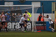 Barrow score their goal during the Vanarama National League match between Barrow and Cheltenham Town at Holker Street, Barrow, United Kingdom on 6 February 2016. Photo by Antony Thompson.