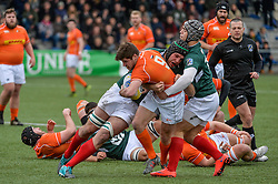 March 4, 2017 - Amsterdam, Netherlands - Rik Roovers of the Netherlands is tackled by Fernando Almeida (L) Vasco Ribeiro ® of the Portugal during the Rugby Europe Trophy match between the Netherlands and Portugal at the National Rugby Centre Amsterdam on March 04, 2017 in Amsterdam, Netherlands  (Credit Image: © Andy Astfalck/NurPhoto via ZUMA Press)