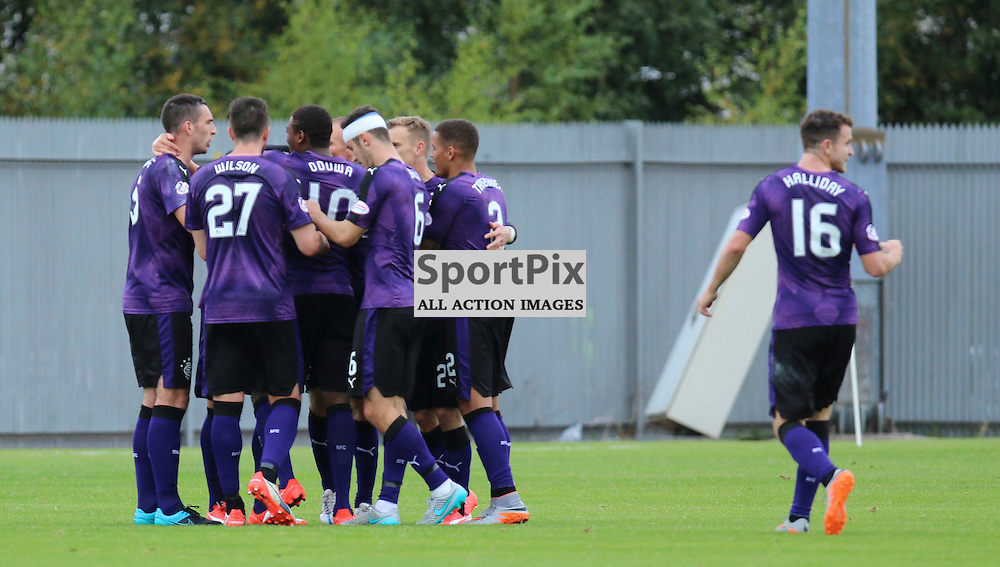 Rangers players after opener during the Dumbarton FC v Rangers FC Scottish Championship 19th September 2015 <br /> <br /> (c) Andy Scott | SportPix.org.uk