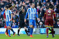Referee shows the red card to Nedum Onuoha of Queens Park Rangers - Mandatory by-line: Jason Brown/JMP - 27/12/2016 - FOOTBALL - Amex Stadium - Brighton, England - Brighton & Hove Albion v Queens Park Rangers - Sky Bet Championship