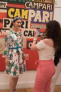 ANA DE JESUS, LUCY ELLEN; , Private view for the Art of Campari, The Estorick Collection,  Islington. London. 3 July 2018