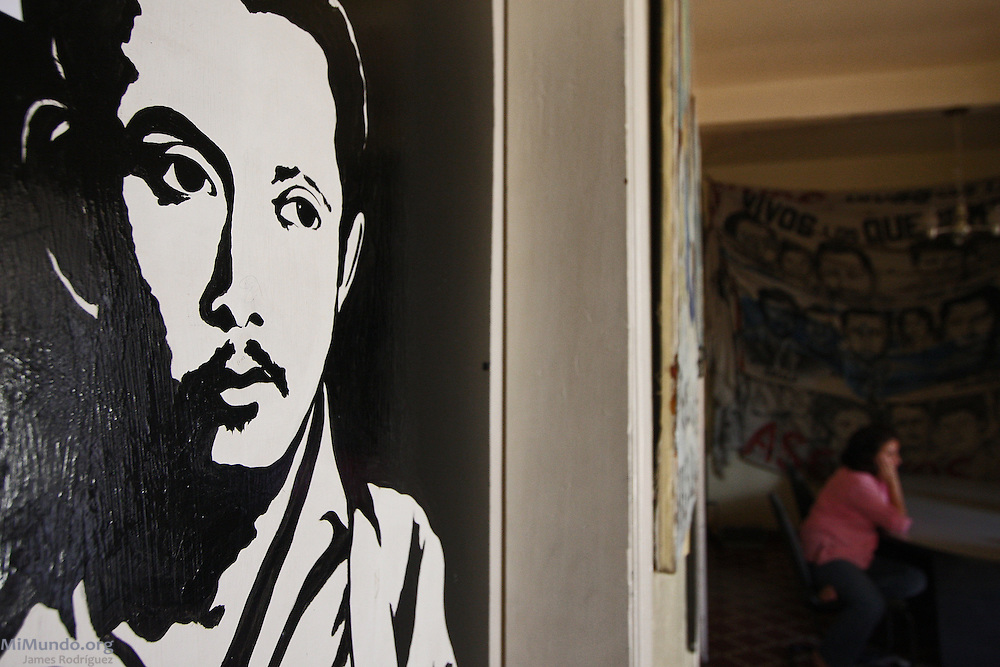 Drawing of Tomás Nativí Gálvez, detained-disappeared on June 11, 1981, that hangs in the Office of the Committee of Relatives of the Detained-Disappeared of Honduras (COFADEH). His wife and COFADEH founder and director, Bertha Oliva de Nativí, sits in the background. July 2009.