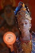 SRI LANKA...Udappuwa festival. Particpant in costume for a procession that will leave from the Kali Kovil in the north of the village and travel a few hundred metres to the Vishnu Kovil.
