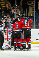 KELOWNA, BC - NOVEMBER 16: Jake Poole #23 and Jake Lee #21 of the Kelowna Rockets celebrates a goal against the Kamloops Blazers at Prospera Place on November 16, 2019 in Kelowna, Canada. (Photo by Marissa Baecker/Shoot the Breeze)
