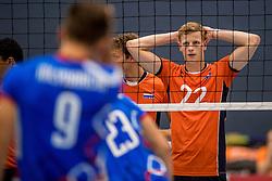 28-08-2016 NED: Nederland - Slowakije, Nieuwegein<br /> Het Nederlands team heeft de oefencampagne tegen Slowakije met een derde overwinning op rij afgesloten. In een uitverkocht Sportcomplex Merwestein won Nederland met 3-0 van Slowakije / Auke van de Kamp #22
