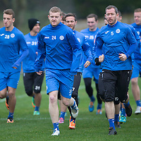 St Johnstone Training....21.11.14<br /> Brian Easton pictured running in training this morning ahead of tomorrow's league gam against Ross County.<br /> Picture by Graeme Hart.<br /> Copyright Perthshire Picture Agency<br /> Tel: 01738 623350  Mobile: 07990 594431